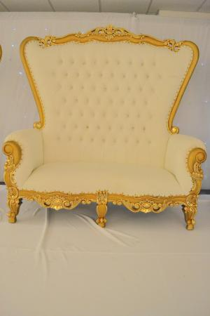 Gold and Cream Double Love Seat Throne Chair
