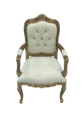 Queen Anne Gold and Cream Chair