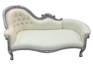 Silver and Cream Chaise