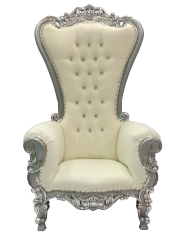 Silver and Cream Throne Chair