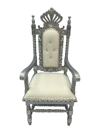 Silver and Cream Crown Chair