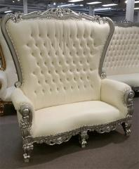 Silver and Cream Double Love Seat Throne Chair