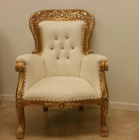 Queen Elizabeth Gold and Cream Chair