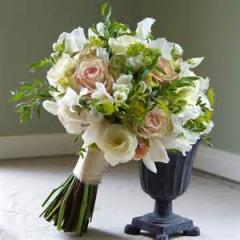 Pink Roses and Greenery Bridal Bouquet