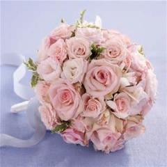 Pink Roses and Lysianthus Bridal Bouquet