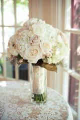 Round White Hydrangeas and White Roses Bouquet