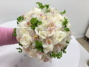 White Roses and Cymbidium Orchid Bouquet