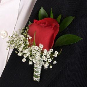 Red Rose with BB Boutonniere