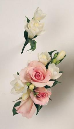 Pink Spray Roses and White Freesia