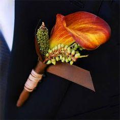 Orange Mini Calla Lilly Boutonniere