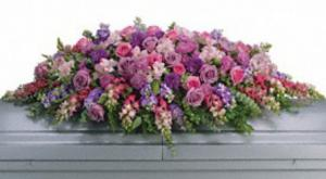 Casket Spray with Pink and Lavender