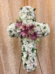 Cross with Mixed White and Pink Flowers
