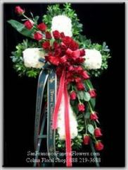 Funeral Cross with White Base and Red Roses