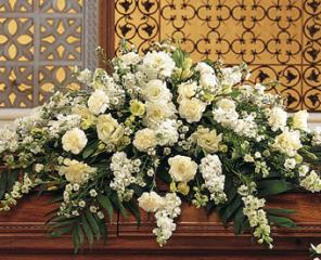 Mixed White Flowers Casket Spray