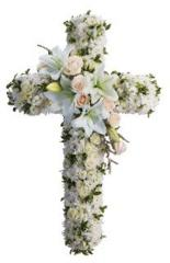 Mixed White Flowers Cross