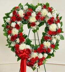 Open Heart with Red and White Flowers