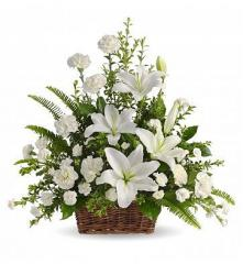 Peacefully White Basket Arrangement