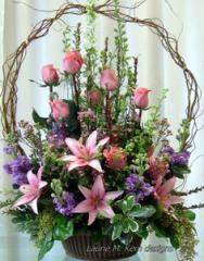 Pink and Lavender Basket Arrangement