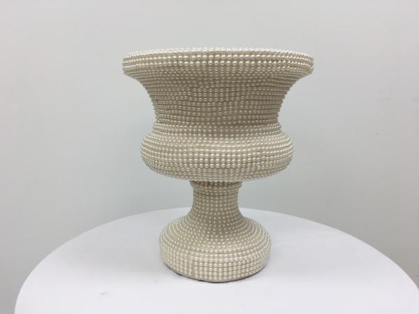 Cream 21 Beaded Vase