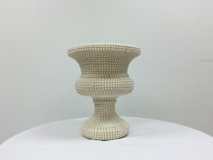 Cream 16 Beaded Vase