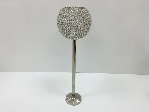 Silver 34 Crystal Ball Stem Candle Holder