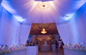 Blue White 14\'x14\' Canopy with Chandelier