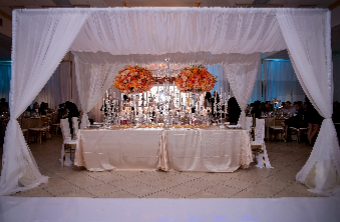 White 10\'x14\' Canopy with 2 Chandeliers