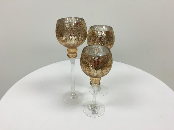 Solid Gold Mercury Round Trio Stem Candle Holders