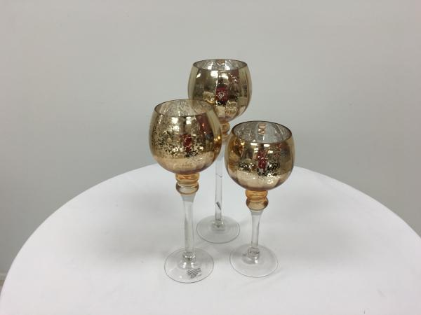 Solid Gold Round Trio Stem Candle Holders
