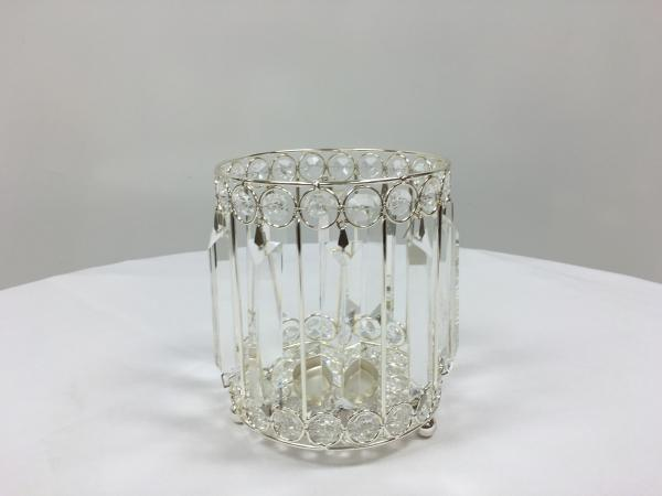 Silver 7 Crystal Round Candle Holder