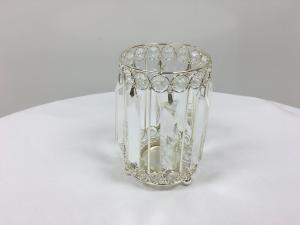 Silver 8 Crystal Round Candle Holder