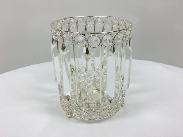 Silver 9 Crystal Round Candle Holder