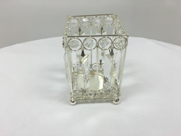 Silver 6 Crystal Square Candle Holder