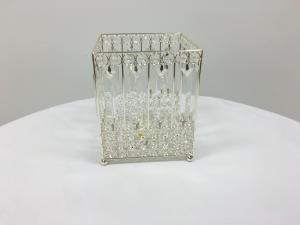 Silver 7 Crystal Square Candle Holder