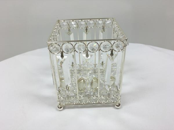 Silver 9.5 Crystal Square Candle Holder
