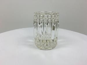 Silver 7 Crystal Round Slim Candle Holder