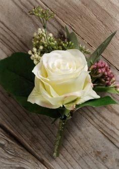 White Rose with Seed Boutonniere