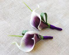 White and Purple Calla Lilly Boutonniere