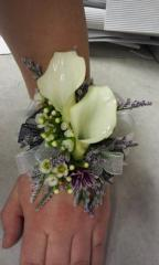 White Calla Lilly with White Flowers Hand Wrist