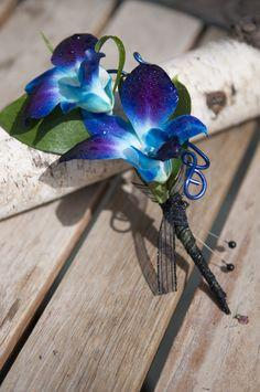 Teal Orchid Boutonniere