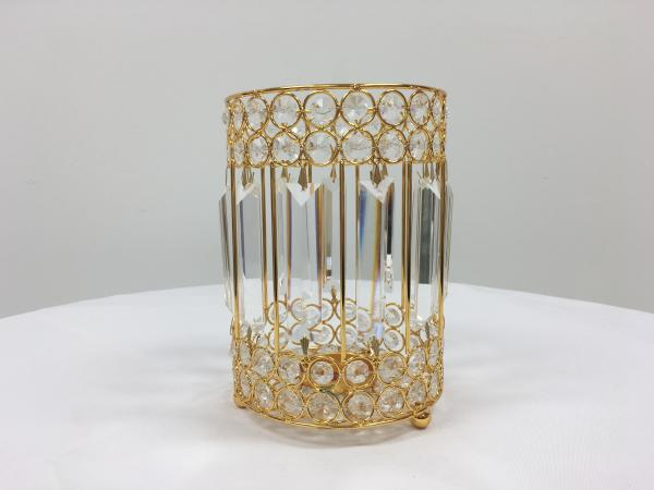 Gold 7 Crystal Round Candle Holder