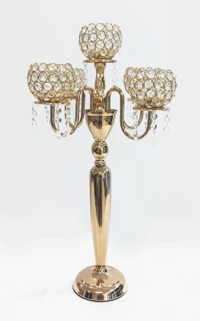 Rose Gold Candelabra with Round Globe