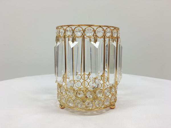 Gold 8 Crystal Round Candle Holder