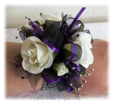 White Roses Corsage Hand Wrist