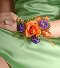 Orange and Purple Hand Wrist Corsage