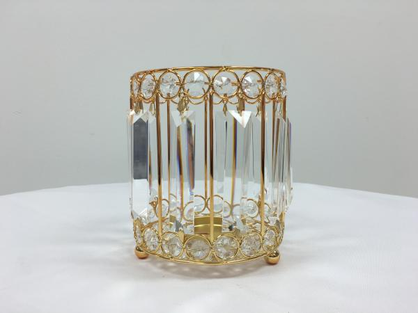 Gold 9 Crystal Round Candle Holder