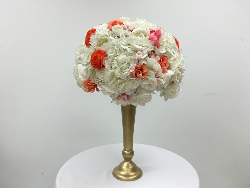 Silk flowers crystal floral white and coral flower ball mightylinksfo