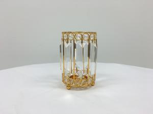 Gold 7 Crystal Round Slim Candle Holder