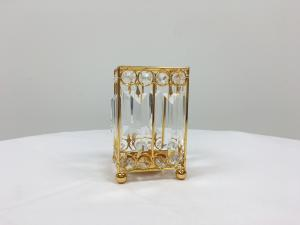 Gold 6 Crystal Square Candle Holder