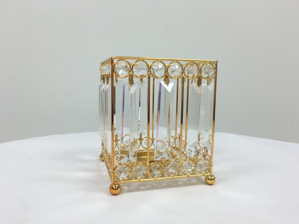 Gold 7 Crystal Square Candle Holder